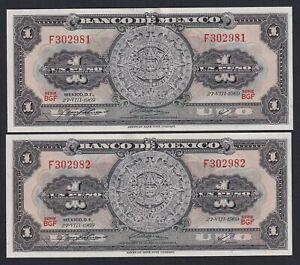 México 1 Peso 1969 Sup /Au (2 Consecutivos) A-04