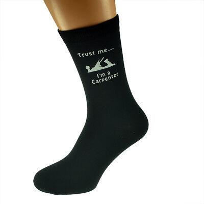 Mens Trust Me I'm A Carpenter Mens Black Socks Uk 5-12 Hochglanzpoliert