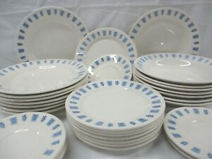 Oxford-Made-in-Brazil-Vintage-Dinnerware-Set-Bowls-Plates-Blue-Floral-32-Pcs-AL
