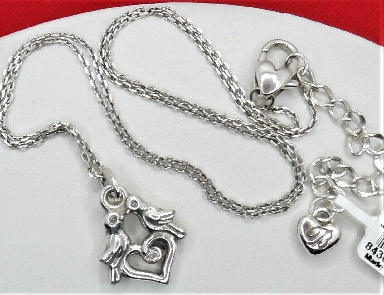 Silver and Crystal Love Birds Necklace and Earrings Set.