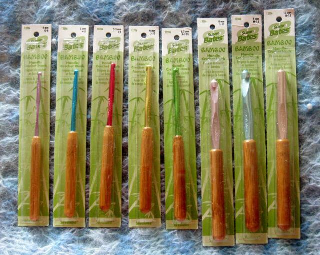 Susan Bates Bamboo Handle Crochet Hook Set All 8 Hooks Sizes