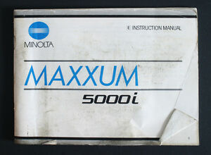 Minolta maxxum 5000i instruction manual | ebay.