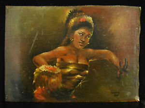 Young-Dancer-Balinese-Bali-Panyembrama-Pendet-Indonesia-Oil-1950-Paint-Hst