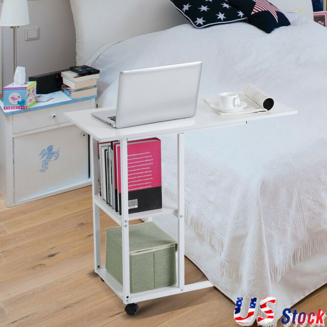 Overbed Rolling Mobile Table Over Bed Laptop Food Tray Hospital Home Office Desk