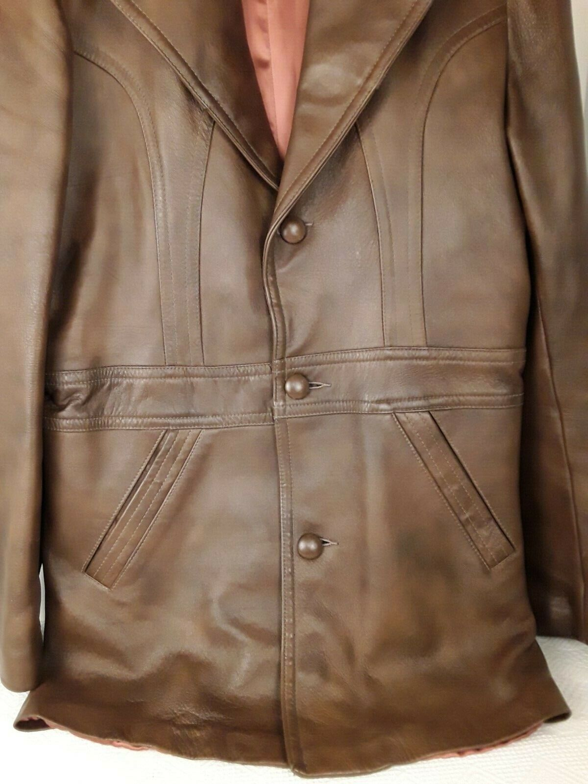 Mens Genuine Brown Leather Coat Fitted Retro 70's… - image 3