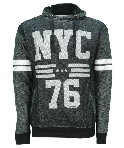 Soul Star NYC 76 Overhead Hoodie Men's Fleece Sweatshirt Hooded Top Black Grey