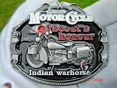 Indian Motorcycle Belt Buckle Chrome Biker Gothic Harley Outlaw Cowboy Chopper