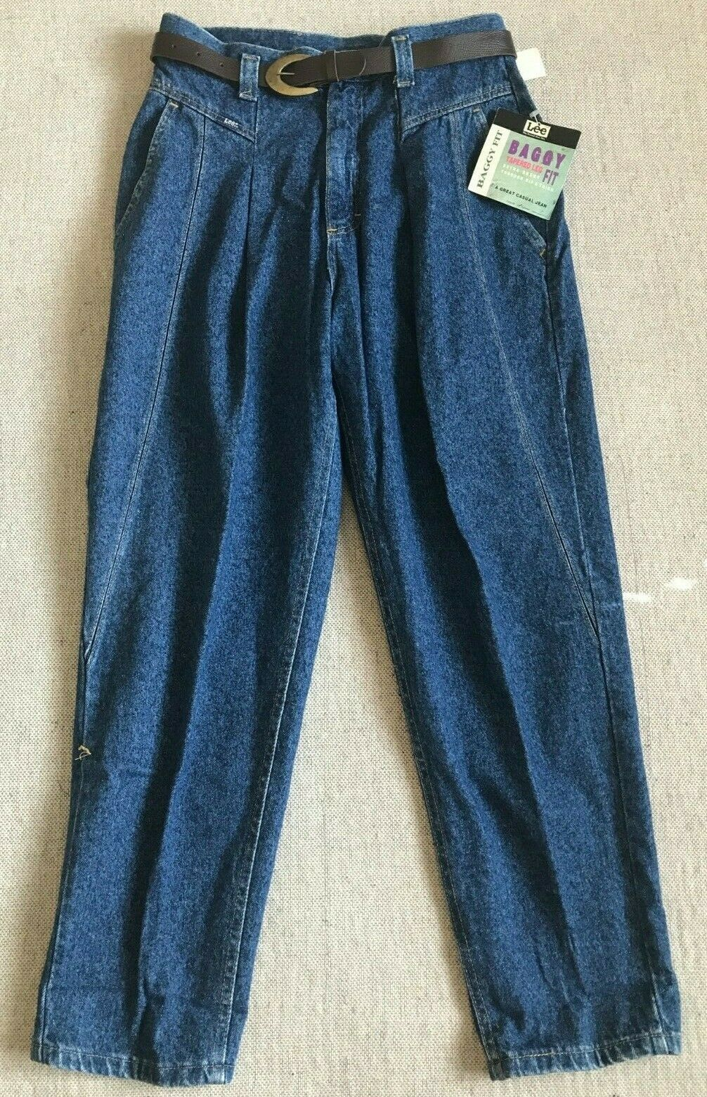 VTG NEW Lee Women's Baggy Fit Petite Casual Jeans With Belt,Tapered Sz 14P  L5