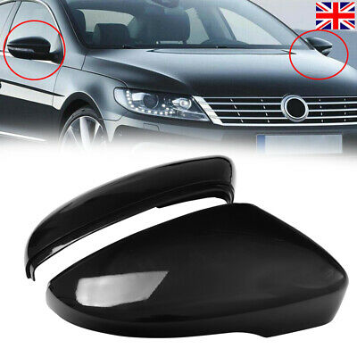 Black Left Side Rearview Wing Mirror Cover Casing For VW Jetta CC Scirocco Eos