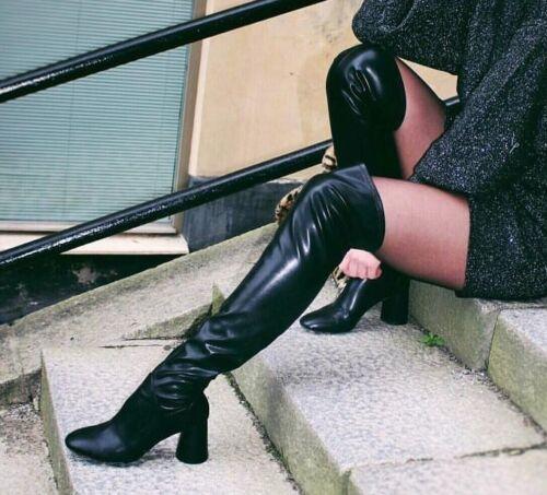 Over 6 Knee Heel Black Zara Size Boots adYwaRq