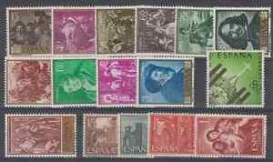 ESPANA-ANO-1959-NUEVO-MNH-EDIFIL-1238-1253-COMPLETO-SIN-FIJASELLOS