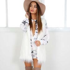 *White Winter Outwear Women Sleeveless Vest Faux Fur Waistcoat Jacket Coat XL