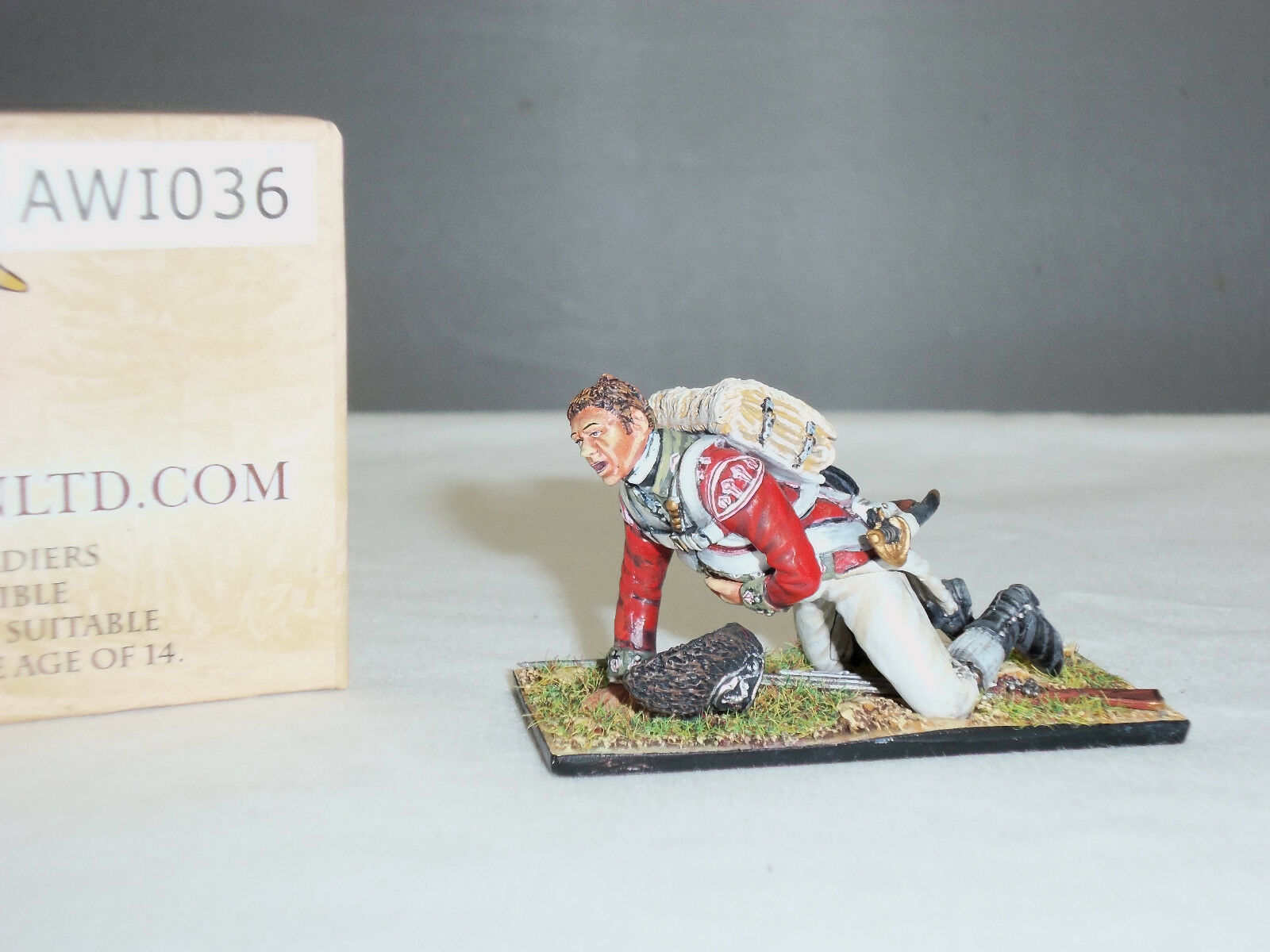 FIRST LEGION AWI036 BRITISH 5TH REGIMENT OF FOOT CRAWLING WOUNDED TOY SOLDIER