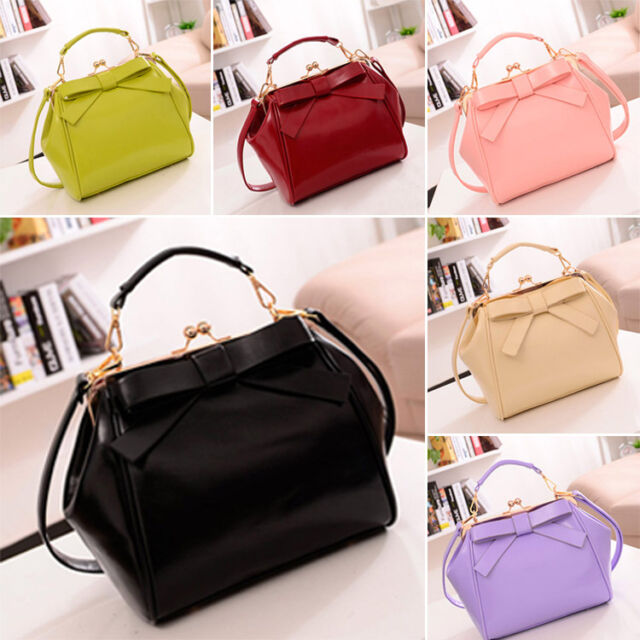 Women New Faux Leather Shoulder Bag Bowknot Satchel Cross Body Totes Handbag