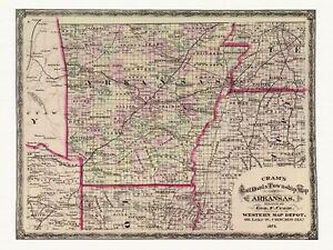 Old Railway Decorative Map of Arkansas Cram ca. 1875