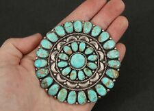 Large Vintage Navajo Julianna Williams Turquoise & Sterling Cluster Sun Pin