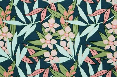 REM 2 Mtr Wool Peach Leafy Floral Print Dress Fabric Material (Teal Ground)