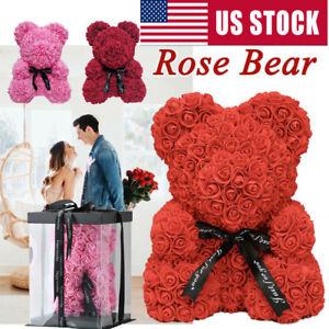 Details About Love Rose Flower Bear With Box Valentine Wife Girlfriend Birthday Gift Wedding