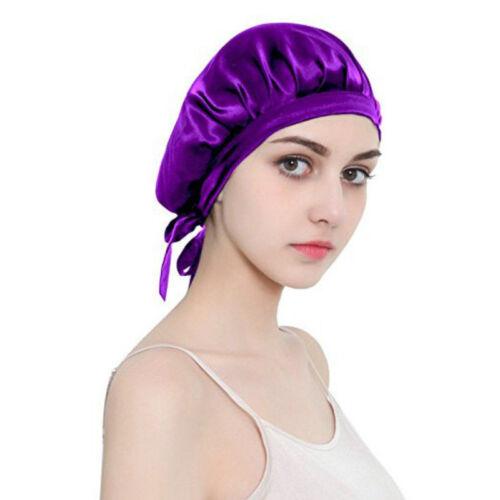 Damen Seide Nacht Schlaf Kappe Hut Satin Haarpflege Haare Beauty Kopfabdeckung