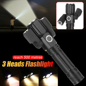 3-Heads-Zoomable-LED-Night-Flashlight-Torch-4-Modes-Rechargeable-Camping-Hiking