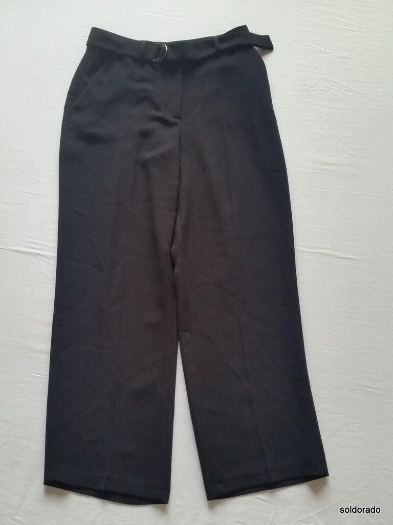 Hallhuber Pantalón 7 8 Negro con Cinturón de Tela Tela Tela 36 Gr. Uk8 17e044