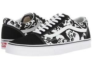 Image is loading VANS-OLD-SKOOL-SKULLS-BLACK-TRUE-WHITE-SKATE- 01b2294c4