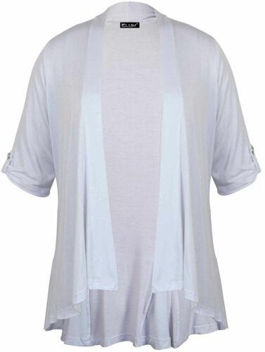Womens Button Up Short Sleeve Waterfall Cardigan Top Womens Cardigan Top UK 8-26