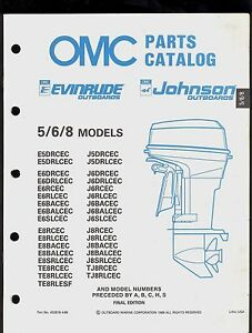 1989 OMC JOHNSON  / EVINRUDE 5 / 6 / 8  MODELS OUTBOARD PARTS BOOK