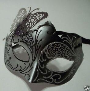 schwarz & Silber Halbschuhe Metall Schmetterling filigran Maskenspiel Maske