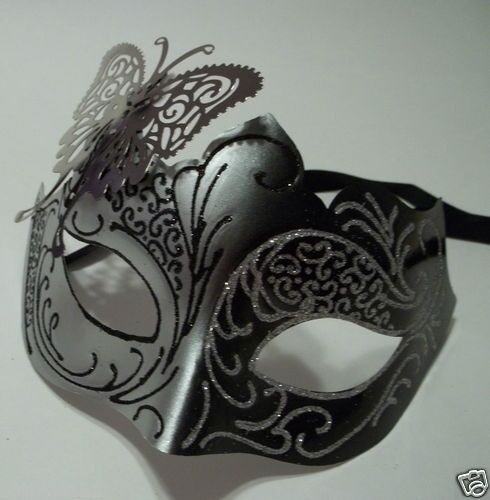 Black /& Silver Venetian Metal Butterfly Filigree Masquerade Mask Masked Ball
