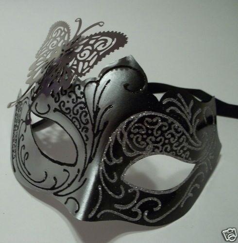 Black /& Silver Venetian Metal Butterfly Filigree Masquerade Mask Masked Ball