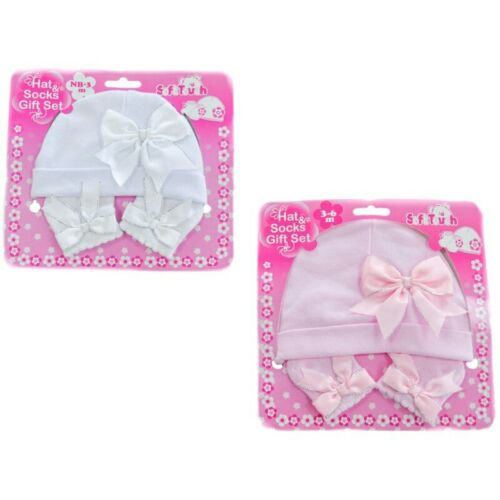 Hat /& Socks Gift Set with Bows Silver Edge Pink White NB-3 3-6M Soft Touch