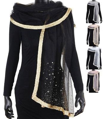 XXXL Schal Schulter Tuch mit Perlen Halstuch Schal Überwurf Stola Damenschal