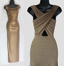 MONSOON Gold Jersey Cross Back Embellished Gorgeous Maxi Dress UK 12  EU 40