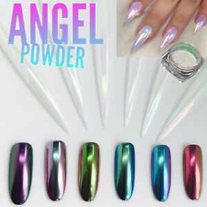 Angel aurora powder 6 colours unicorn nail chrome mirror nails effect chameleon ebay - Polvere specchio unghie ...