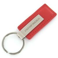 Nissan Pathfinder Red Leather Rectangular Key Chain