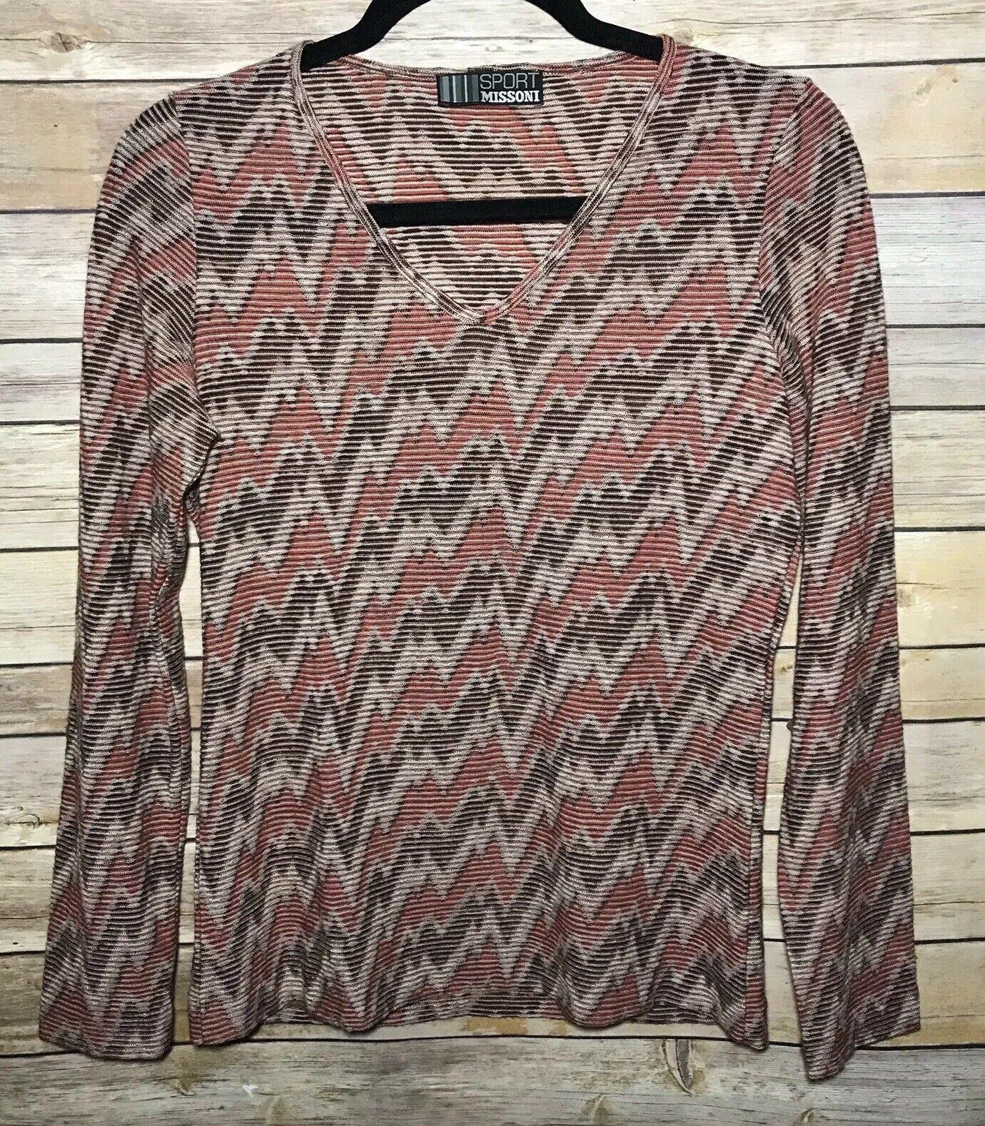 MISSONI damen Top L Multi Chevron Wool Sheer Knit Long Sleeve V Neck Zip Zag