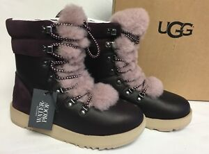 7083b04f7d5 Details about UGG Australia VIKI WATERPROOF EXPOSED SHEARLING LACE UP Boot  1017493 Port sz 6