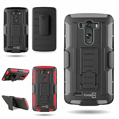Protective Belt Clip Holster Cover Hard Soft Hybrid Stand Case for LG G3 (2014)