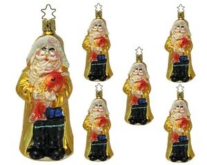 Details About Inge Glas Owc 4171 Gloucester Santa German Glass Christmas Ornaments Box Of 6