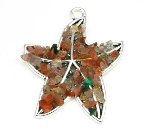 Starfish Semi-precious Gemstone Chips Silver Tone Pendants for Jewellery Making