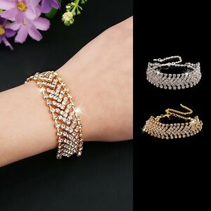 1PC Fashion Style Women Rhinestone Bangle Cuff Bracelet Chain Jewelry
