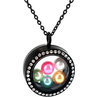 8mm Beads Locket Pearl Cage Floating Pendant With Rhinestone Necklace K1167