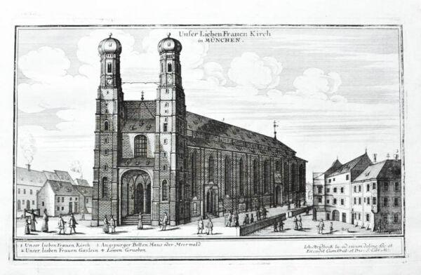 1697 München Frauenkirche Kupferstich-ansicht Stridbeck Schrecklicher Wert