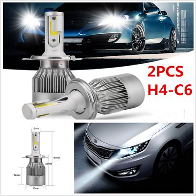 2 PCS COB H4 C6 7600LM 72W LED Car Headlight Kit Hi//Lo Turbo Light Bulbs 6000K