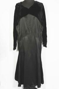 RARE-FRENCH-ANTIQUE-EDWARDIAN-1920-039-S-BLACK-SILK-SATIN-amp-VELVET-DRESS-SIZE-16-18