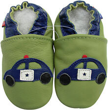 carozoo cherry green 5-6y soft sole leather kids shoes