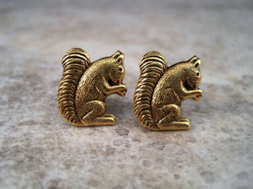 Details about  /Handmade Antique Gold Squirrel Post Earrings