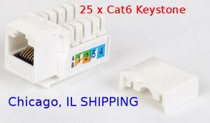 White 50 Pack, Cat5e RJ45 110 Type Keystone Jack