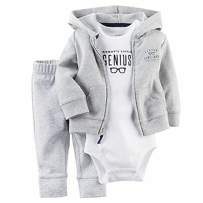 Carters Newborn 6 9 12 18 Months Cardigan Pants Set Baby Boy Outfit Clothes Grey